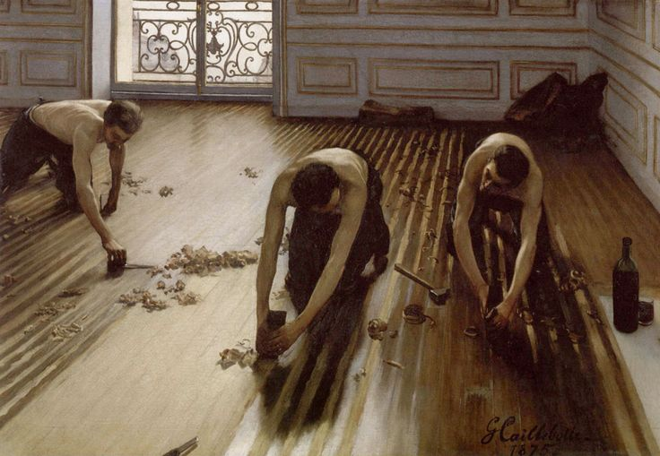 Histoire de l'art - Les mouvements dans la peinture - L'impressionnisme - Gustave Caillebotte - 1875 - Les raboteurs de parquet / Détails