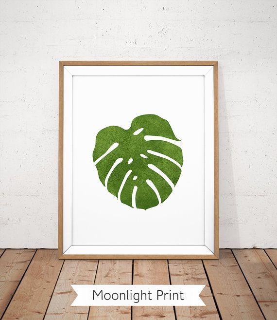 Monstera druckbare, Wand Split Blatt Philodendron, Monstera Blatt, tropischen Sommer-Print, botanische Kunst, Sommer druckbare, grüne zum ausdrucken
