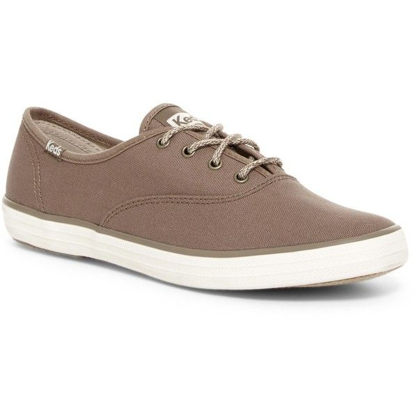 Keds Champion Canvas Oxford Sneaker ($30) ❤ liked on Polyvore featuring shoes, sneakers, dark taupe, canvas lace up shoes, lacing sneakers, lace up sneakers, canvas shoes and ortholite shoes