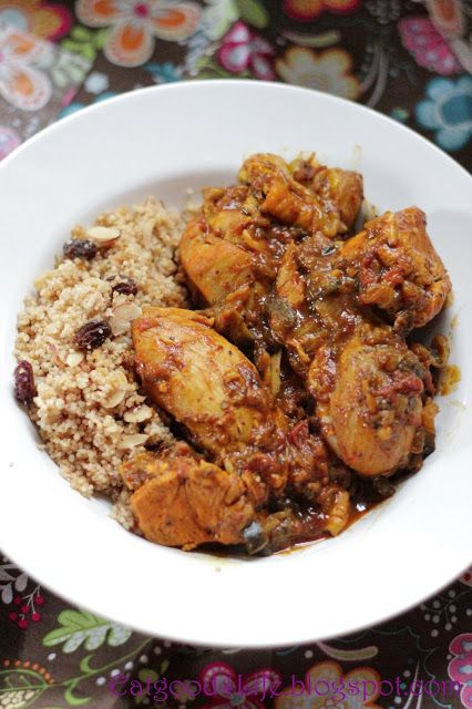 Moroccan Chicken w/ Moroccan Couscous (Couscous recipe: 1 c orange or other juice, 1 c instant couscous, 1/4 c pitted dates, finely chopped, 1/4 c raisins, 1/4 c slivered almonds, 1 tsp cinnamon, Bring juice + 1/2 c water to boil. Remove from heat. Stir in couscous; allow to sit covered for 5 minutes. Saute dates, raisins, almonds, cinnamon in 1/2 c water for 2 minutes. Add cooked couscous. Mix well, serve warm. 301 cal. 8 g prot, 59 g carbs, 4 g fat, 7 mg sodium. 0 cholest. 0 sat fat…