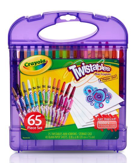 Featuring 65 twistable crayons, drawing paper and stickers, this travel-ready art set comes in a durable plastic case for convenient carrying and organization.