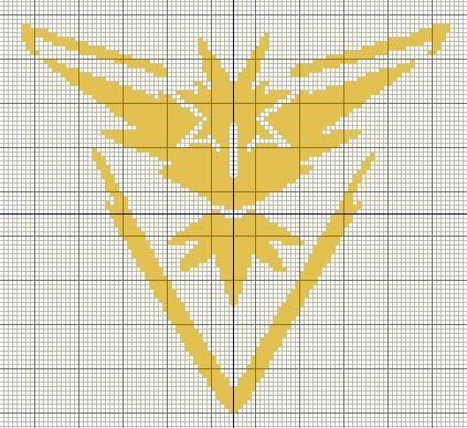 Pokemon GO team logo cross stitch design - Mystic, Valor and Instinct     Team Mystic - Represented by Articuno        Team Instinct - Repr...