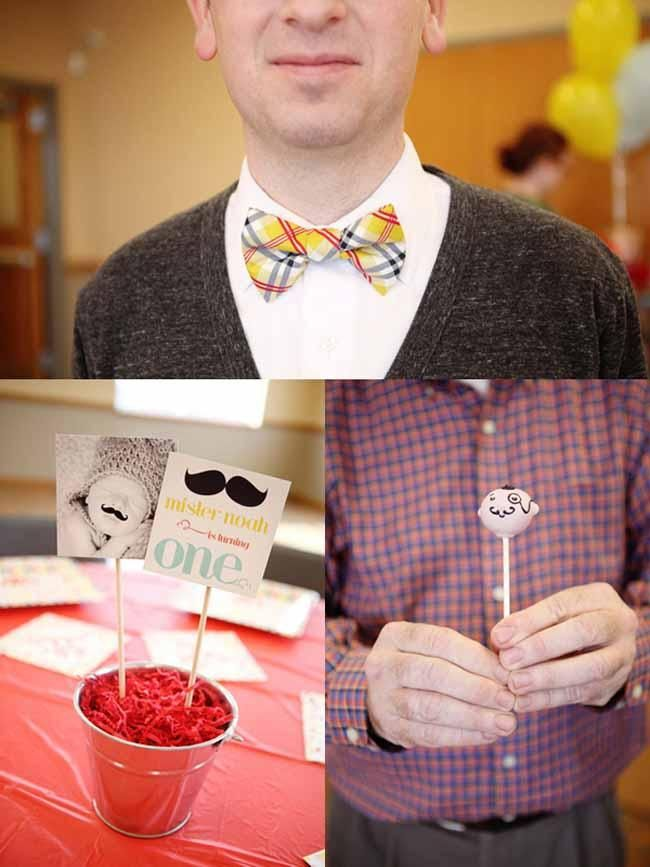 The vintage vibe gives this old fashioned barber shop boy's first birthday party tons of style