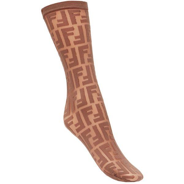Fendi logo embroidered socks ($120) ❤ liked on Polyvore featuring intimates, hosiery, socks, brown, spandex socks, transparent socks, brown socks, see through socks and fendi