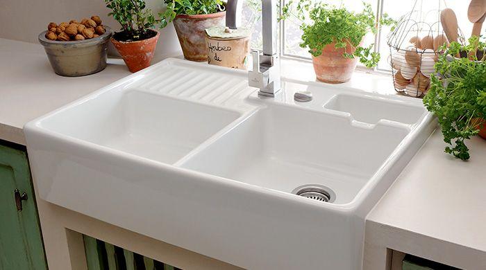 White Ceramic Double Bowl Kitchen Sink: Villeroy & Boch Butler Dobbelt I Hvid Ceramic