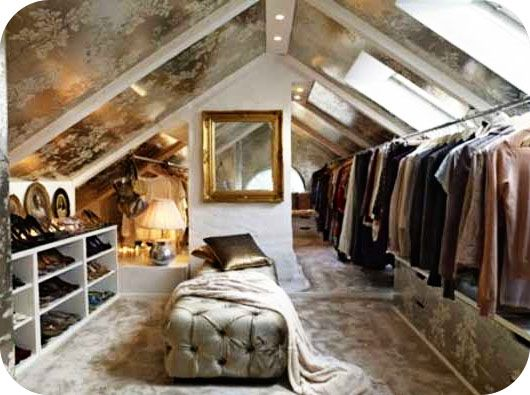 I wonder if i could have someone do this to my attic?? Finish it out - turn it into a closet and then expand my bathroom into my current closet...hmmm...diy house crashers~ i need you!!!!: Walk In Closet, Idea, Dream Closet, Closets, Attic Closet, Dreamcloset, Dressing Room