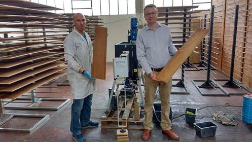 With Paul James of Fiddes company (producing oils for wooden floor and parquet finishing) with Andrea Paoloni of Parquet Sartoriale while working on oak application oils finishing with Minitunnel machine of wood finishing hub   https://www.youtube.com/watch?v=y-Vm0a5o_Is