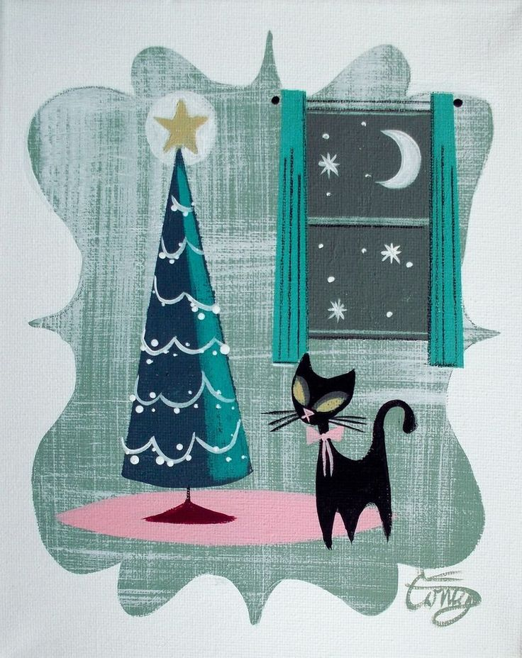 EL GATO GOMEZ PAINTING RETRO 1950S KITSCH MID CENTURY MODERN CHRISTMAS CARD CAT #Modernism