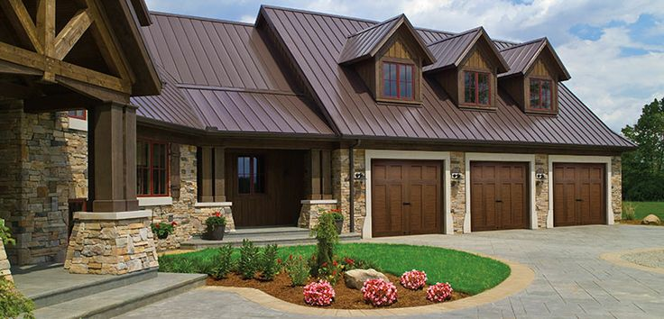 Walnut Garage Doors Tin Roof House Residential Garage
