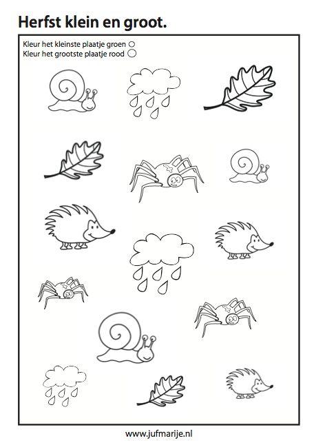 Werkblad rekenen: Herfst klein en groot Juf Marije