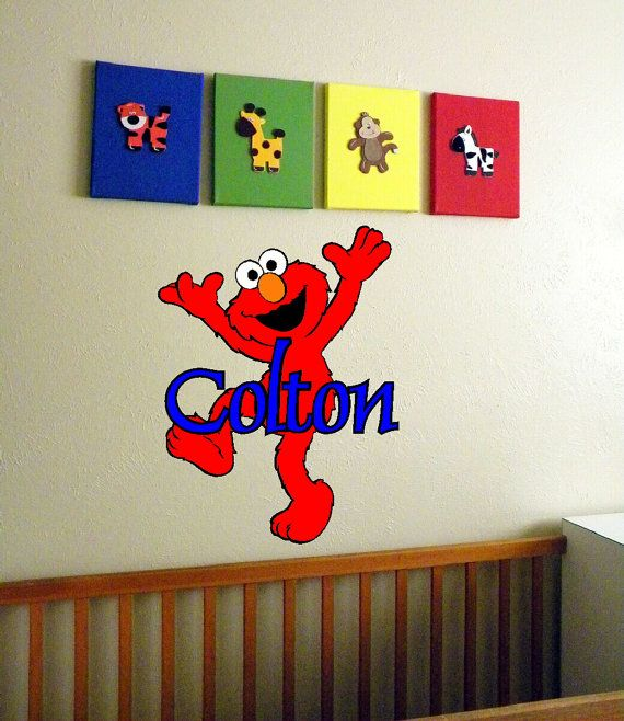 elmo personalized name wall art wallart name decal bedroom