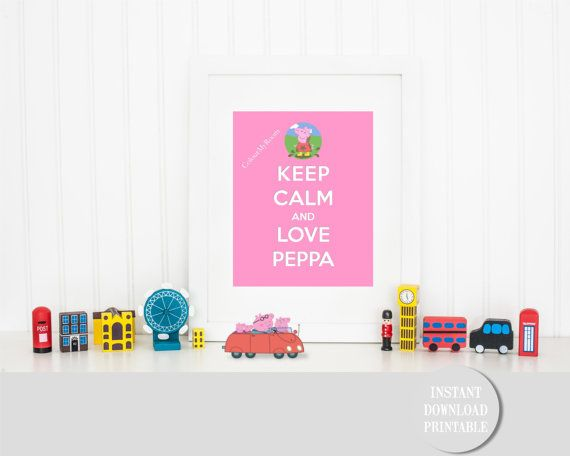 KEEP CALM LOVE Peppa Pig in Muddy Puddles by ColourMyRoom on Etsy