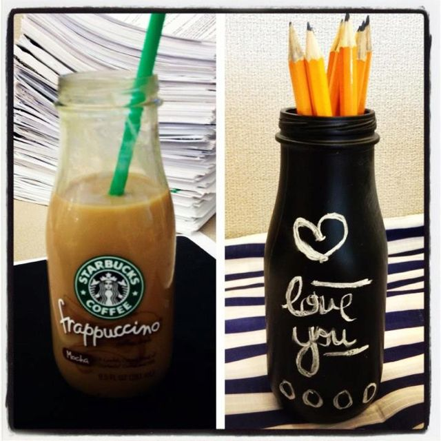 Starbucks bottle turned into a chalkboard pen/pencil holder. :) Just wash it out and paint with the chalkboard paint. :D