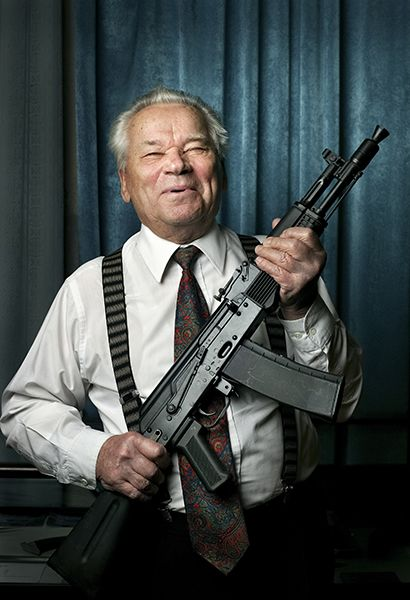 Mikhail Timofeyevich Kalashnikov is a Russian small arms designer, most famous for designing the AK-47 assault rifle, the AKM and the AK-74.