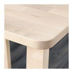 IKEA - NORRÅKER, Mesa alta, Es muy resistente y cumple las normas para su uso en lugares públicos.Gracias a las variaciones naturales de la veta y el color, cada una de estas mesas de madera es única.Con esquinas redondeadas para que los niños no se hagan daño.
