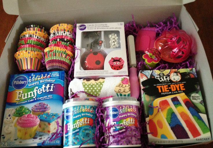 """CUPCAKE KIT!!! Got everything for this gift at one store. All arranged in a cake box. Not shown is a book I gave w/ it """"If You Give a Cat a Cupcake"""". Can be reduced to your liking. Birthday gift for a special girl! Very easy to put together"""