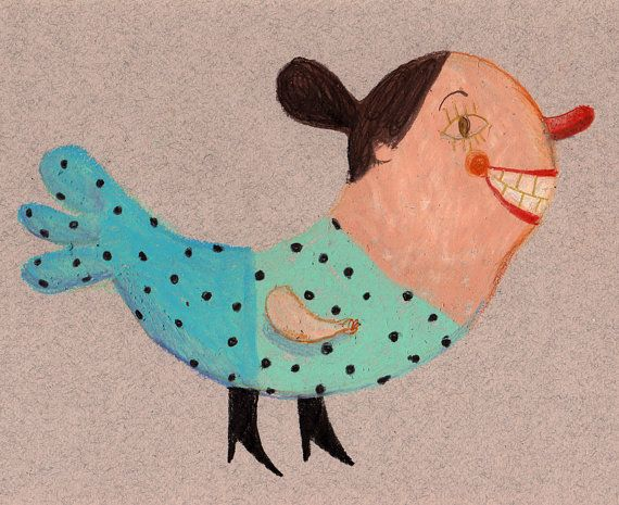"""I love the whimsical folky look of Israeli artist Tali Yalonetzki's art! this is """"Ms Charms"""" Tali's etsy shop name is Tosya"""