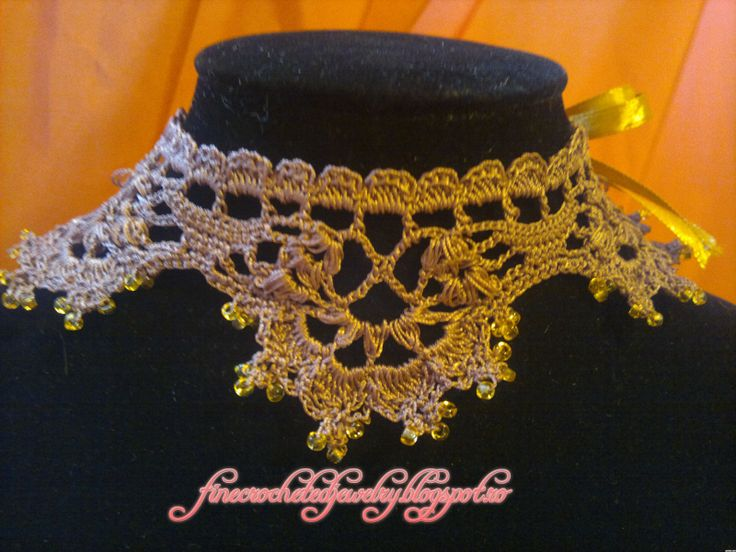 Crochet lace necklace with small beads