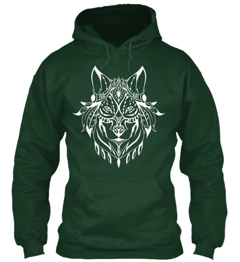67200c1b61eaef Ethnic White Wolf Hoodie Forest Green Sweatshirt Front