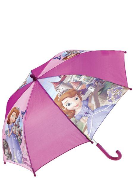 Sofia ensimmäinen -sateenvarjo tekee sateessakin taikaa. Varjon halkaisija on 68 cm. Muovikahva. 100 % polyesteriä.