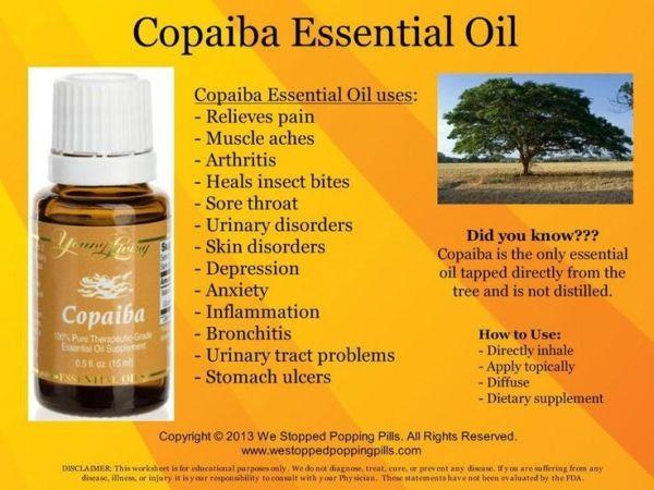 Uses for Copaiba Essential Oil. For more info go to www.EssentialOilsEnhanceHealth.com by trudy
