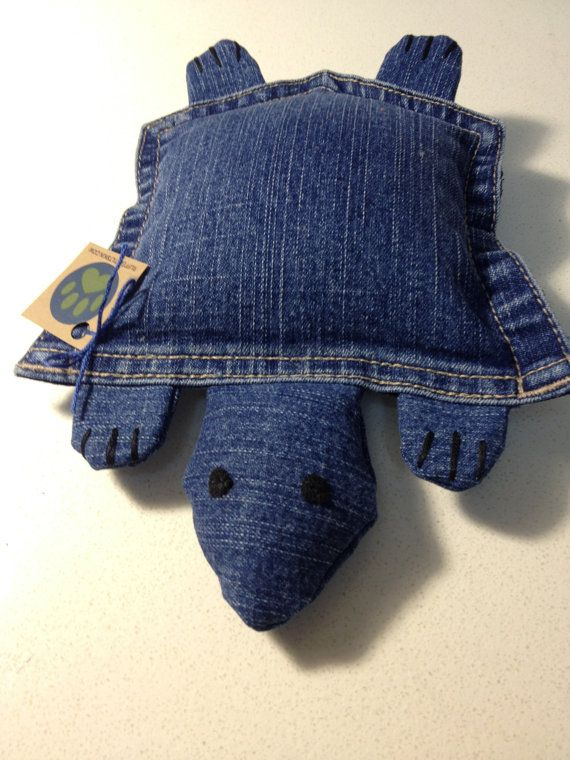 Upcycled Denim Pocket Turtle, Plush Dog Toy, Blue, Medium. If I could sew good, I'd try and make this turtle.