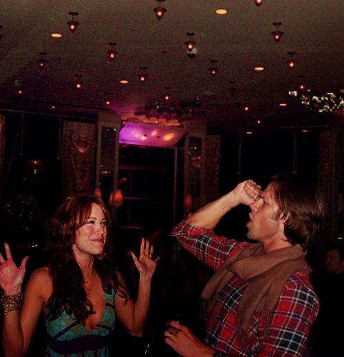 "Jared Padalecki and Danneel Harris Ackles. Danneel is thinking, ""Wow, I definitely married the right one. This guy is a dork..."""