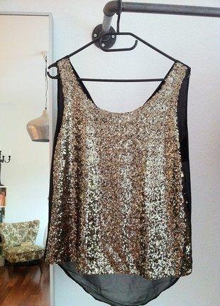 Kaufe meinen Artikel bei #Kleiderkreisel http://www.kleiderkreisel.de/damenmode/kurzarmlig/138436053-goldenes-paillettentop-von-minimum-neu