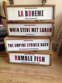 retro style illuminated cinema sign by daughters of the revolution | notonthehighstreet.com
