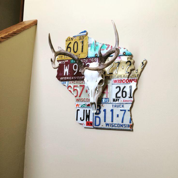Skull mount. Euro mount. Deer mount. Wisconsin License plate art.