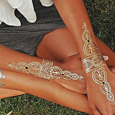 1PC Gold and Silver Necklace Bracelet Tattoos Temporary Tattoos Sticker Cuticle Tattoos Flash Tattoos Party Tattoos 2015 – $2.99