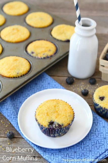 Blueberry Corn Muffin Recipe on twopeasandtheirpod.com. Love the addition of blueberries!