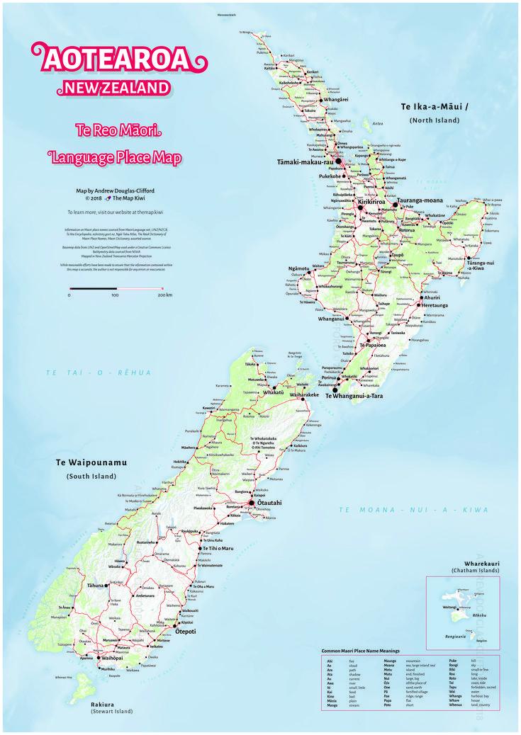 Te Reo Māori Map of Aotearoa/New Zealand