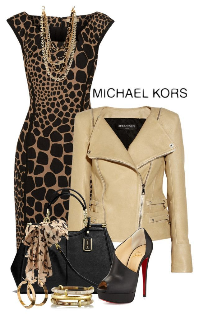Michael Kors Leopard Animal Print dress $349.00 at www.theoutnet.com  Balmain Beige Leather Jacket  $4,340 at www.net-a-porter.com  Black Christian Louboutin shoes $1,095 at www.bergdorfgoodman.com  Black Coach Caroline Satchel $658.00 at www.coach.com   Forever 21 necklaces $11.00 at www.forever21.com  Ashley Pittman Karibu set of three horn and gold-tone bangles $134 at www.net-a-porter.com   Dorothy Perkins Stone Cat Print Skinny Scarf $12.00 at www.dorothyperkins.com
