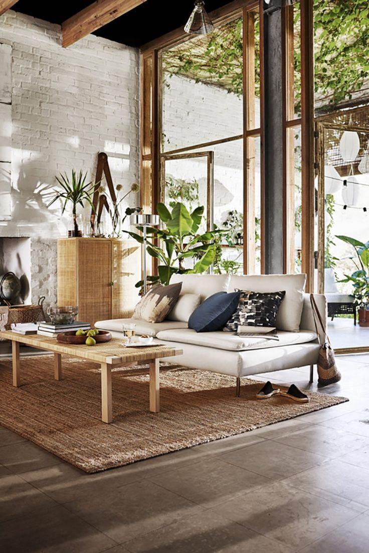 Ikea 'Söderhamn' sofa & 'PS 2017' bench as coffee table
