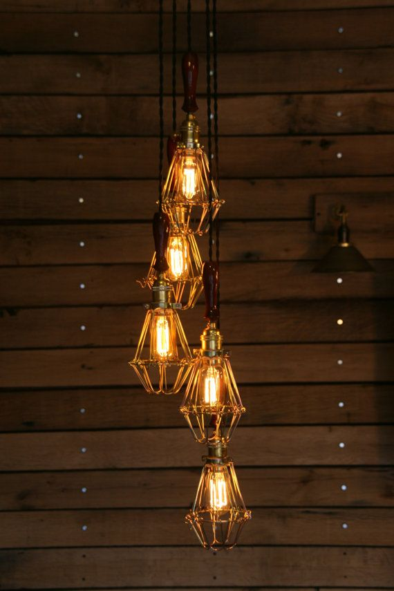 industrial lighting design. items similar to 5 cage light chandelier industrial pendant on etsy lighting design w
