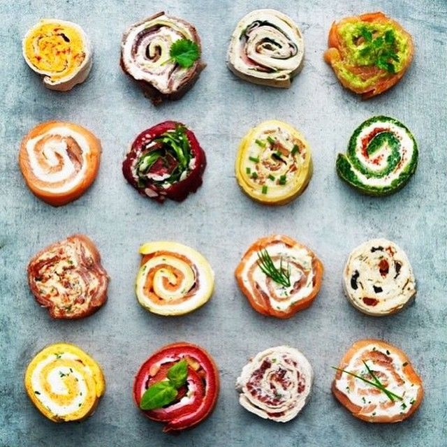 Eat the rainbow! We love these veggie and smoked salmon roulade canapés from @mintfoodgroup