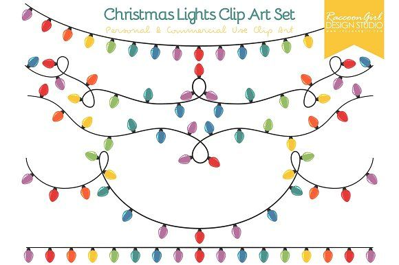 Christmas Lights Clip Art Set by RaccoonGirl Design on @creativemarket