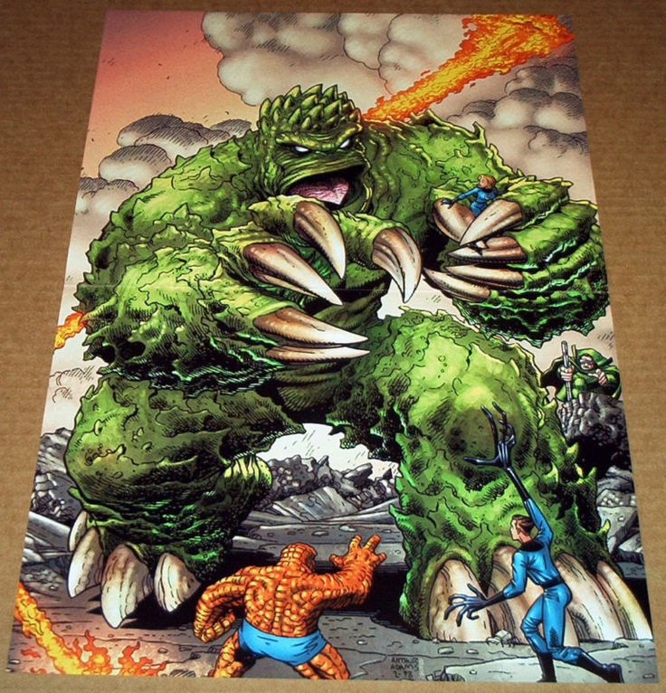 FANTASTIC FOUR #1 VARIANT POSTER MOLEMAN HUMAN TORCH THING REED RICHARDS FF SUE