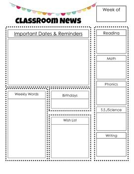 Love this idea to keep parents included in the classroom each week not just the standard school newsletter