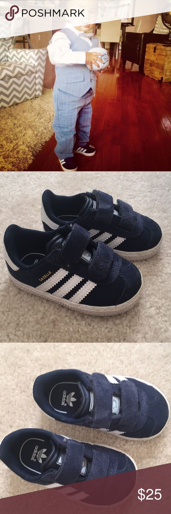 ADIDAS GAZELLE 2 BABY SIZE 4K Used once so in great condition.  My son wore this when he was 1.5 years old for a wedding. One shoe has grass on Velcro's as pictured. Will come with box.  Ask me about the suit he's wearing if you're interested. PLEASE SCROLL DOWN FOR MY KIDS STUFF adidas Shoes Sneakers