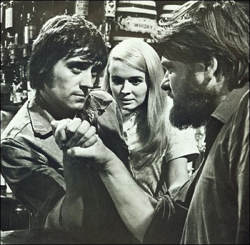 Ian McShane with Sinead Cusack in ITV Playhouse 'A Sound from the Sea' 1970 by mcshanebest, via Flickr