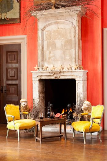 Fabulous color, love the bright salmon with the awesome yellow bergeres, beautiful stone fireplace, this is in Napa. Striking!
