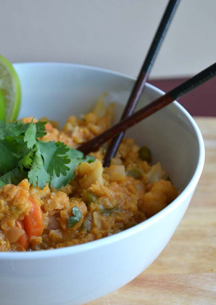 Thai Red Curry Lentils with Cauliflower and Carrot (Vegan + Gluten-Free)