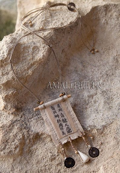 Vintage linen necklace  with calligraphy