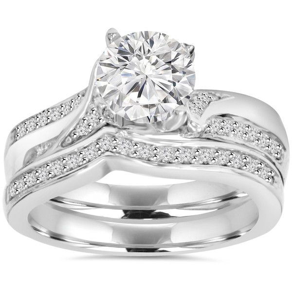 Bliss 14k White Gold 3/4 ct TDW Diamond Wedding Ring Set ($1,246) ❤ liked on Polyvore featuring jewelry, rings, white, round diamond ring, diamond engagement rings, diamond infinity ring, wedding band ring and twisted engagement ring