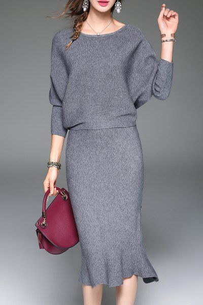 Blueoxy Gray Batwing Sweater And Mermaid Skirt | Sweater Dresses at DEZZAL
