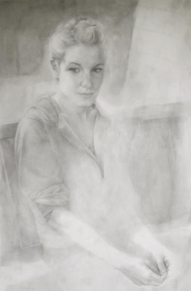 "Tamie Beldue, ""Portrait on Porch Swing,"" graphite, watercolor, and encaustic, 52.75x35 in., 2008-2011"