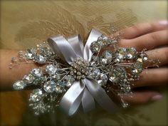 prom wrist corsage silver wrist corsage for by TheCrystalFlower, $65.00