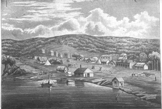 Looking south east from Smales Point showing Commercial Bay and.... - Auckland Libraries